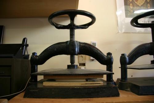 Cast iron book presses
