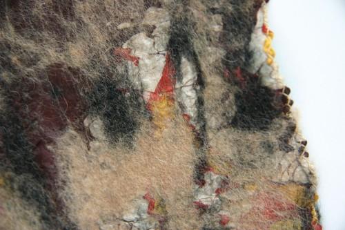 Vintage silk scarf with wool felting