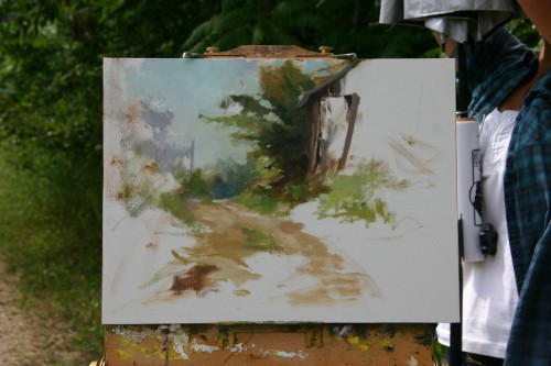 Kathie Wheeler's painting in progress