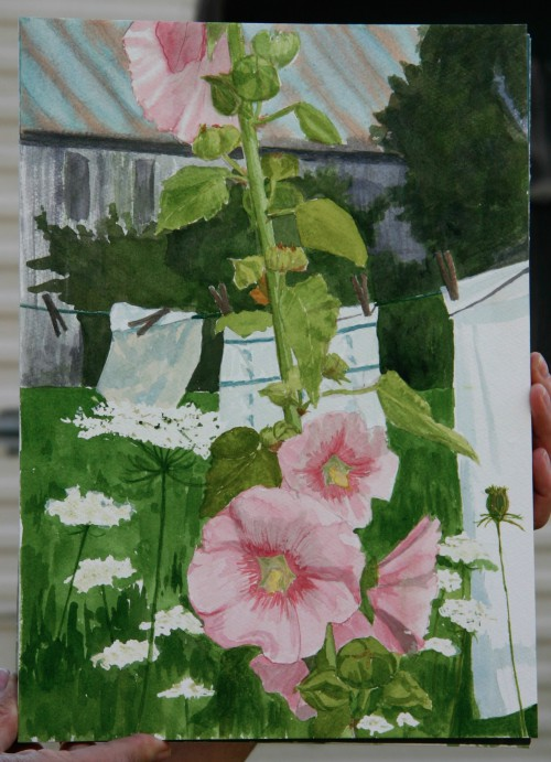 Kathy Fairchild painting of the Bakke Farm hollyhock