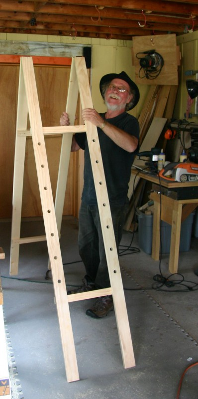 Michael puts the new easel on its feet