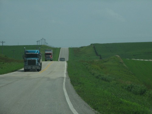 United States highway, through crop land.